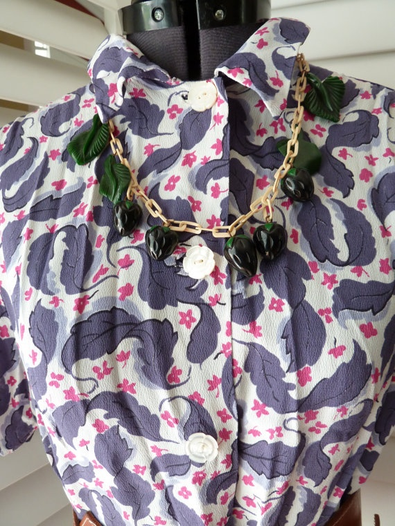 1930s  40s silk or rayon CREPE blouse in Pink Purple by wenisit, $79.80