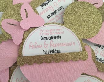 Pink and gold Minnie Mouse glitter/sparkly Head por diapercake4less