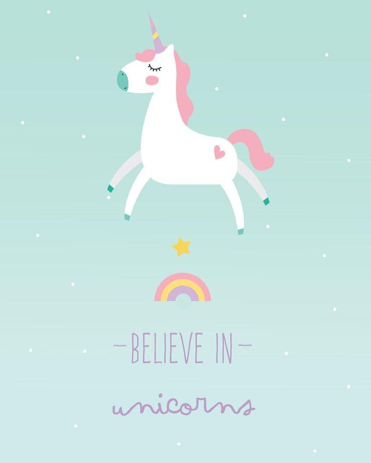 "203 curtidas, 1 comentários - Littlecloud (@littlecloudpt) no Instagram: ""New print almost out  ilustração 30x40 believe in unicorns  Lovely colours  wall deco """