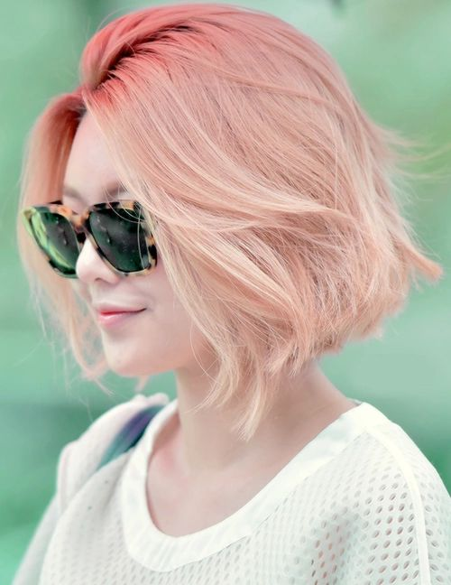 cute, hair, korean, short hair, smile, sunglasses, white, light orange
