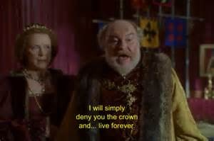 5/11/16  2:56a  20th Century Fox  ''Ever After:  A Cinderella Story''   Timothy West as King  Francis  ''I Will Simply Deny You The Crown and...Live Forever''  King says  to his Son Henry   ''I  Don't Want It''   Dougray Scott  replies as Prince Henry.   corrieamattina.com