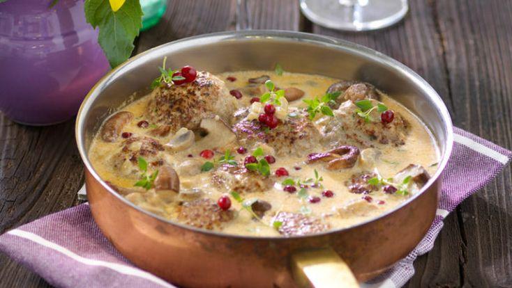 Köttfärsbiffar i svampsås recept