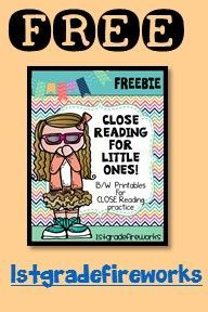 FREE!! Reading Response forms for CLOSE READING!Close Reading b/w printable pages for engaging students in the CLOSE READING process. Inlcudes: Note taking, making connections, illustrating, using the text to prove answers, and more! 1stgradefireworks https://www.teacherspayteachers.com/Product/Close-Reading-for-LITTLE-ONES-FREEBIE-2542186