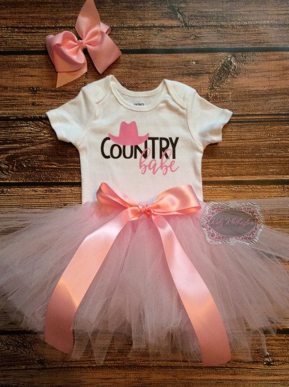 Country Babe Tutu Set Onesie Outfit Baby Girl by KidzKlothezline