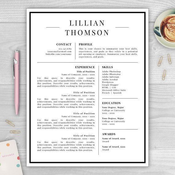 professional resume template for microsoft word mac pages lillian thomson instant download digital