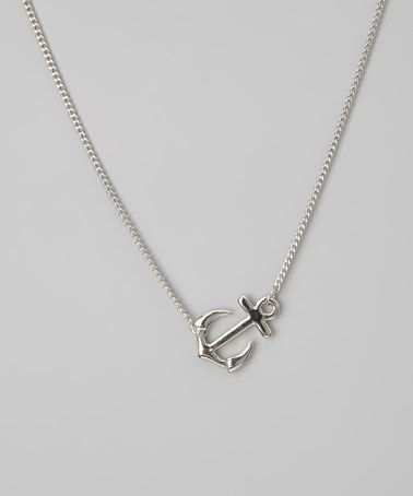 Silver Sideways Anchor Pendant Necklace