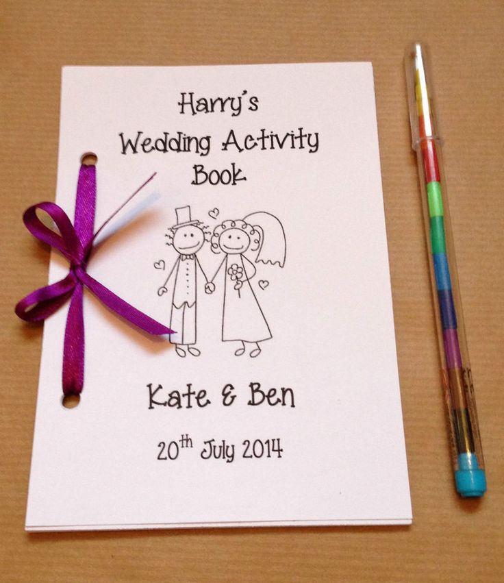 Personalised Cartoon Children Wedding Activity Pack Book Gift Favour 13 Colours