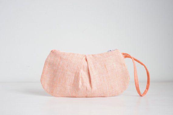 Arancione bracciale lino, frizione di lino a righe, pieghettato sera borsa pochette da polso lino