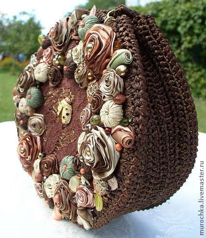 Handbags. crocheted and embroidered ribbons