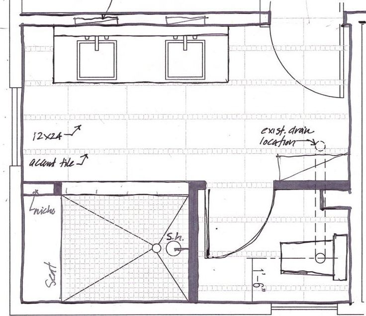 The Master Bathroom Floor Plans With Walk In Shower Above
