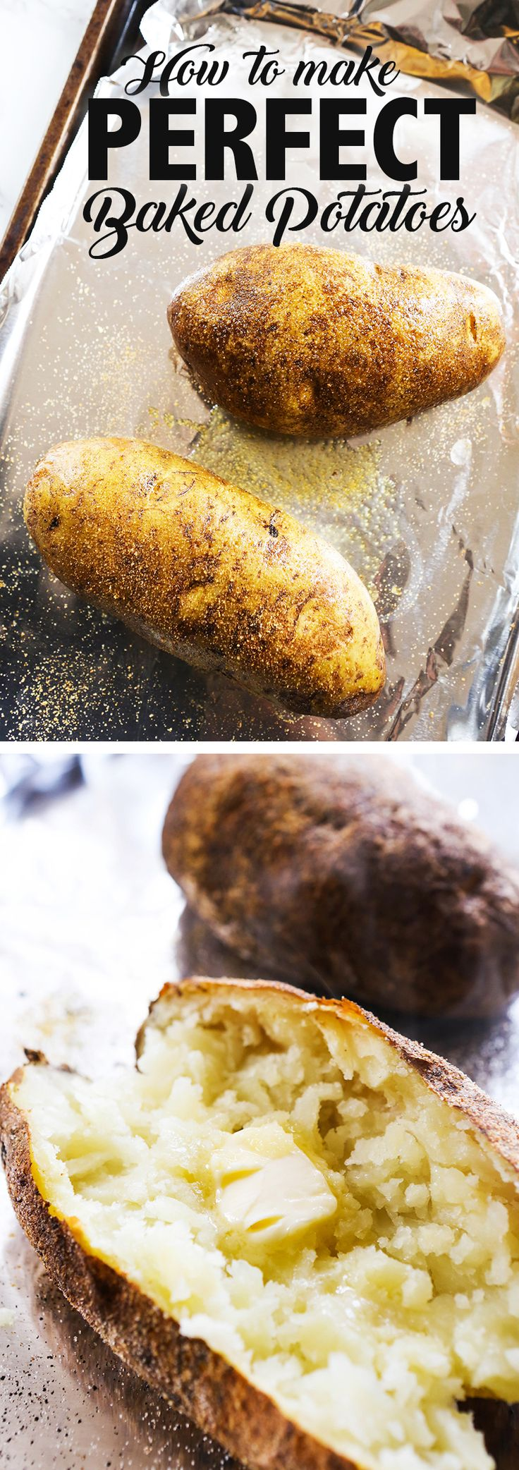 How to Make Perfect Baked Potatoes | Make perfect baked potatoes in your oven with NO FUSS. And a secret ingredient! #bakedpotatoes #potatoes