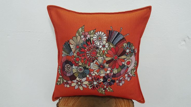 Orange Pillow Case Embroidered Flowers
