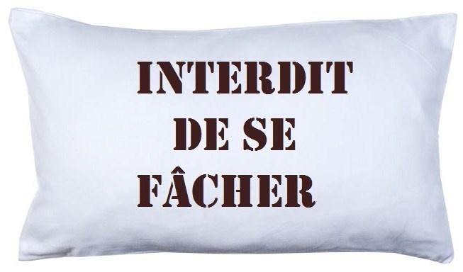 Coussin en tissu blanc avec inscription *INTERDIT DE SE FÂCHER*...  Ils seront ravis de vous le rappeler à tout moment...    Cadeau original pour t...