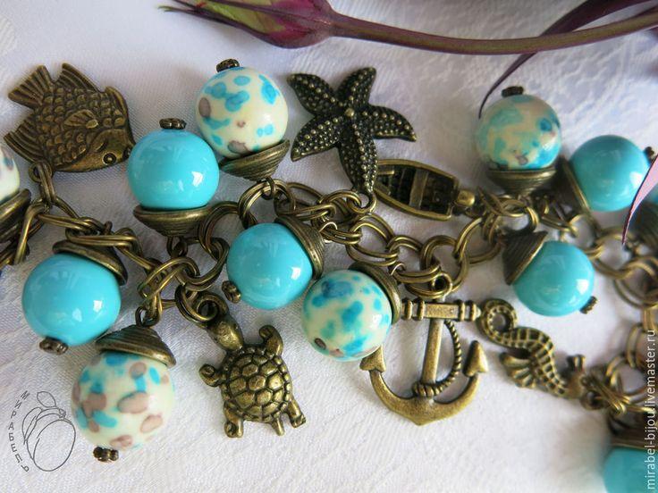 Купить Браслет и серьги Морские. Комплект украшений. - голубой цвет, голубой браслет, голубой жемчуг