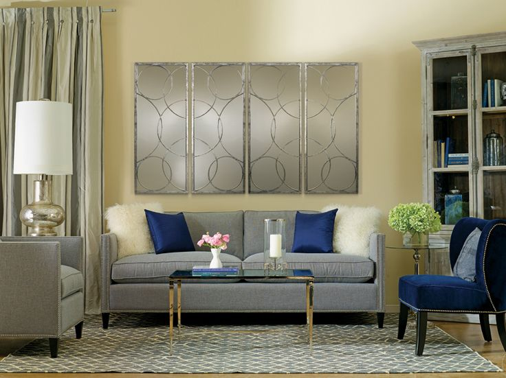 Grey soft yellow walls and pops of cobalt blue how suite for Cobalt blue living room