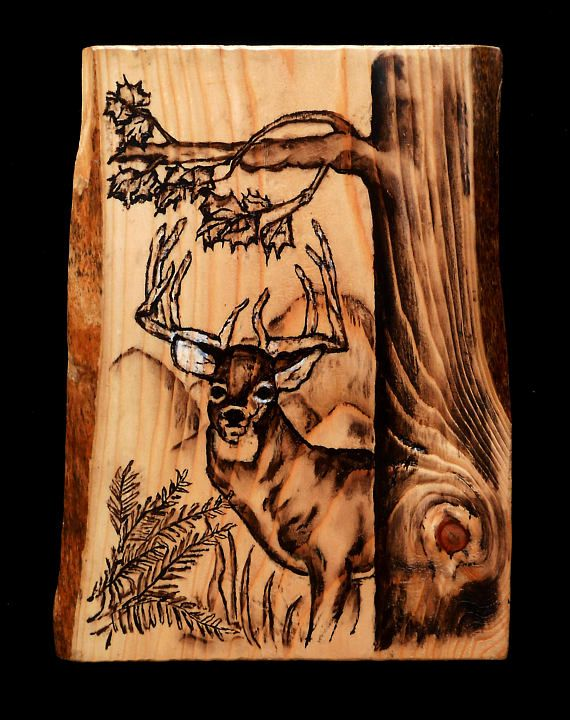 Deer Art Oil Stain on Wood Unique Gift