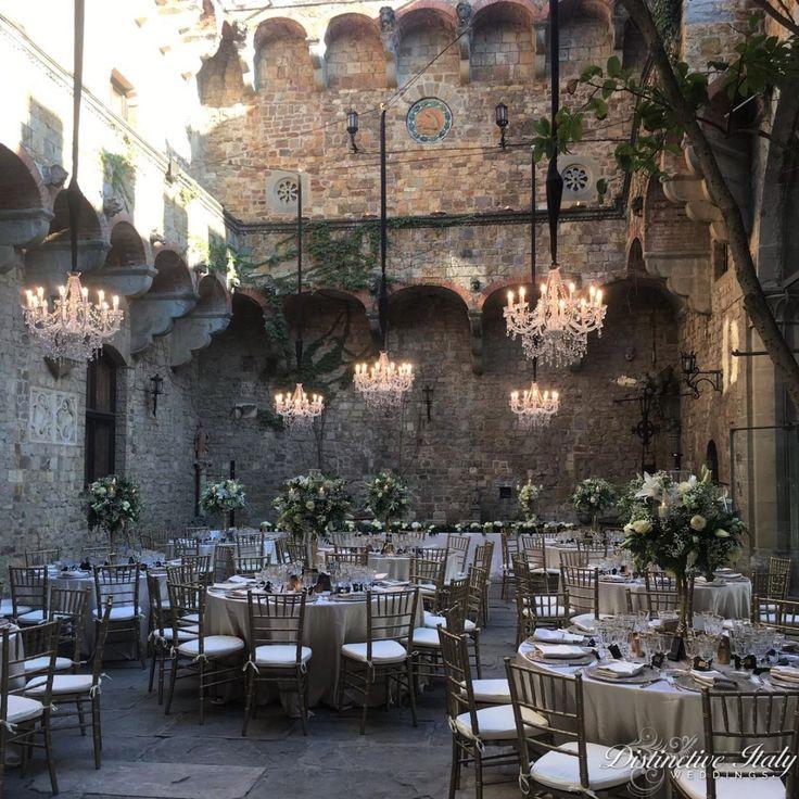 Italian castle courtyard for beautiful wedding reception