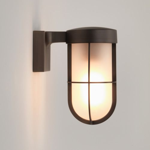 Astro lighting 7850 cabin frosted glass wall light in antique brass