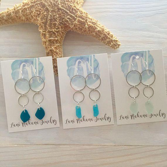 Sea Glass Earrings - Beach Glass Earrings - Double Hoop Earrings - Seaglass Jewelry - Beach Earrings - Long Hoop Earrings