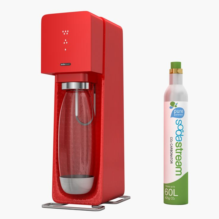 Sodastream Source Red   Detailed Siphone Bottle Home Soda Maker Sodastream Water CO2 Source Red Carbonation Carbonater Drink Kitchenware Cookware Kitchen  Modeling: 3ds Max 2009 Rendering: V-Ray 2.0 Polygons: 6 877 Vertices: 7 171