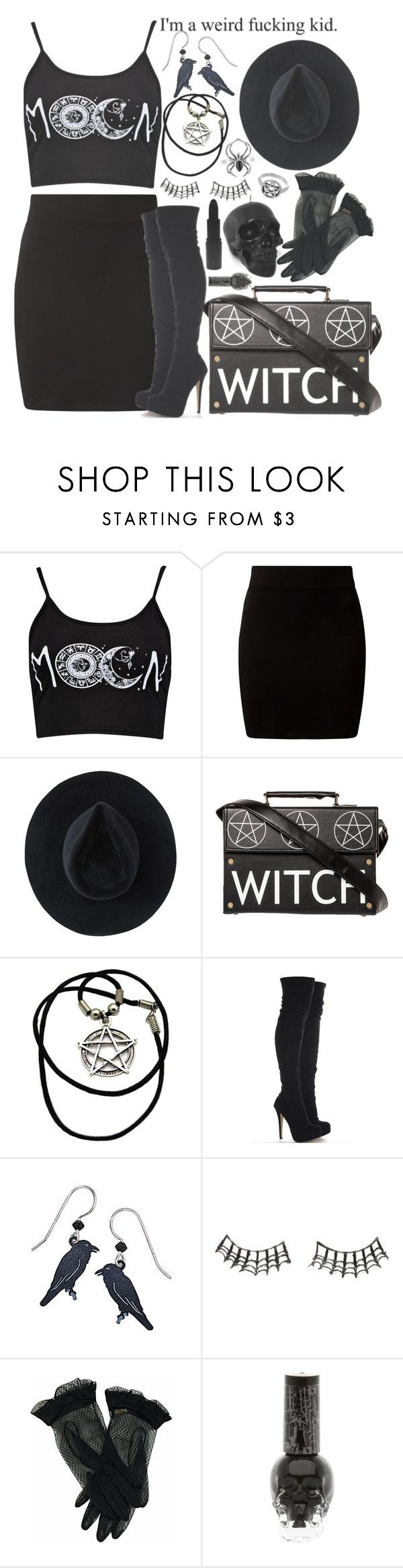 """Modern Witch/Sexy Goth "" by drunk-inlove ❤ liked on Polyvore featuring New Look, Ryan Roche, Raven Denim, Charlotte Russe, MAKE UP STORE and modern"