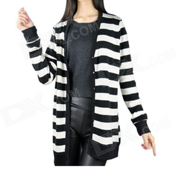 Women's Fashionable Long-Sleeved Knitting Sweater Coat - White + Black (M)