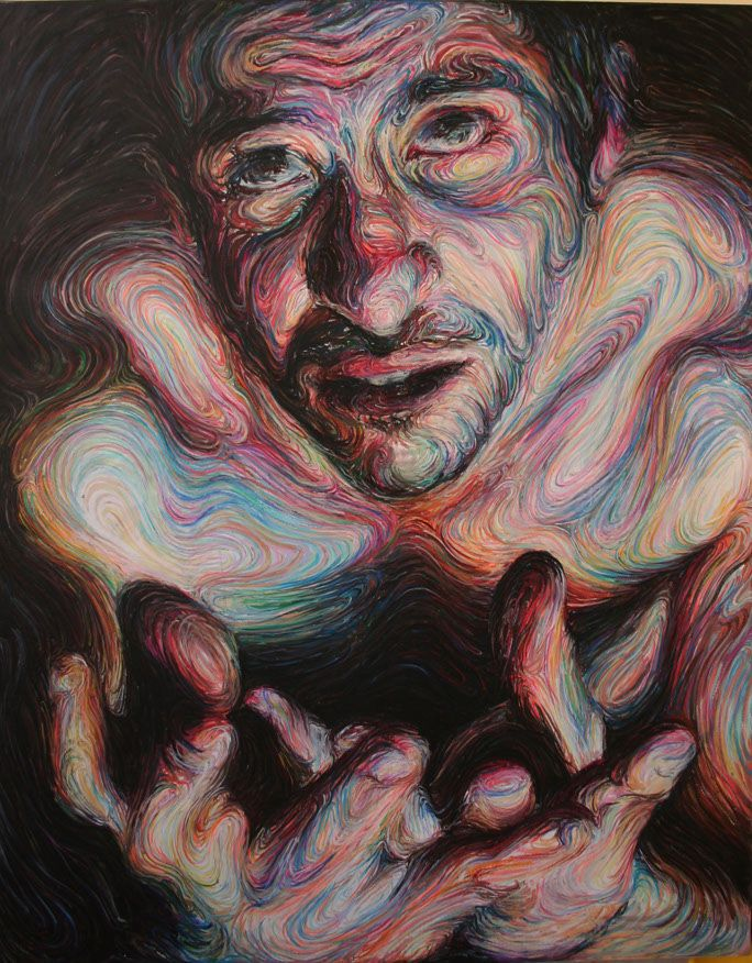 These Self-Portraits and Liquid Friends are energetic paintings by Nikos Gyftakis. Using vibrant colors and swirling brush strokes, the Greek artist blends curves and circular lines together to form each oil painting. From a distance, eyes and faces stare out at the viewer. Upon closer inspection, each face transforms into an abstract blur of patterns and textures.