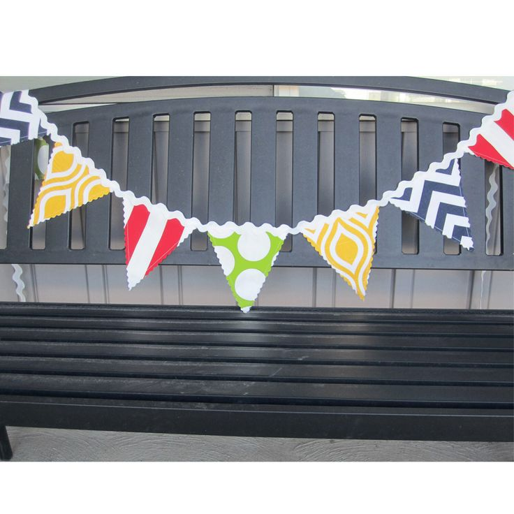 Fabric Flag Banner, Birthday Banner, Birthday Decor, Circus Banner, Yellow, Red, Green, Blue, Ric Rac Banner, Colorful Flags, Pennant Banner by NewboldHome on Etsy https://www.etsy.com/listing/230875751/fabric-flag-banner-birthday-banner