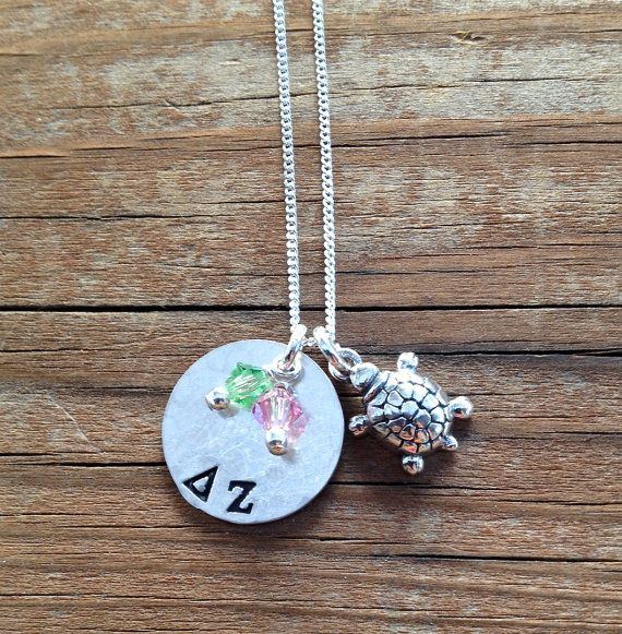 Delta Zeta Necklace with Turtle Charm in Sterling Silver - Sorority Jewelry, Greek Letters, Big Sis Lil Sis Gift Initiation Bid Day Gift