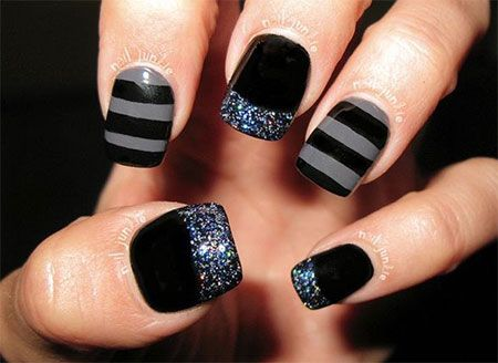 12+ Winter Black Nail Art Designs, Ideas, Trends & Stickers 2015