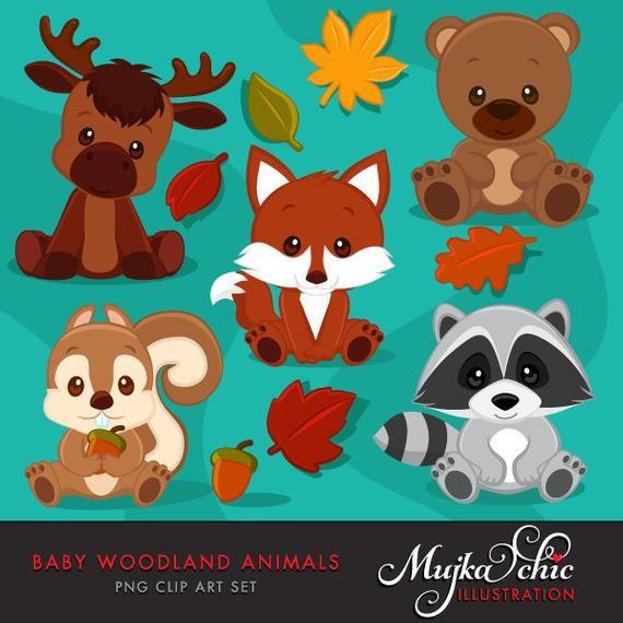 Baby Woodland Animals Clipart Baby Fox Baby Squirrel Baby Moose Baby Raccoon Baby Bear Graphics With Fall Laves And Acorn Baby Raccoon Baby Squirrel Woodland Animals