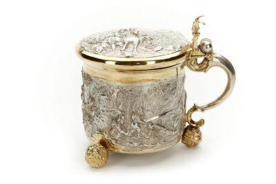 Dryckeskanna av silver. Tillverkad mellan 1667 och 1691.