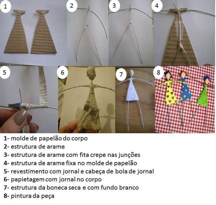 Bonequinhas Feitas de Jornal e Arame