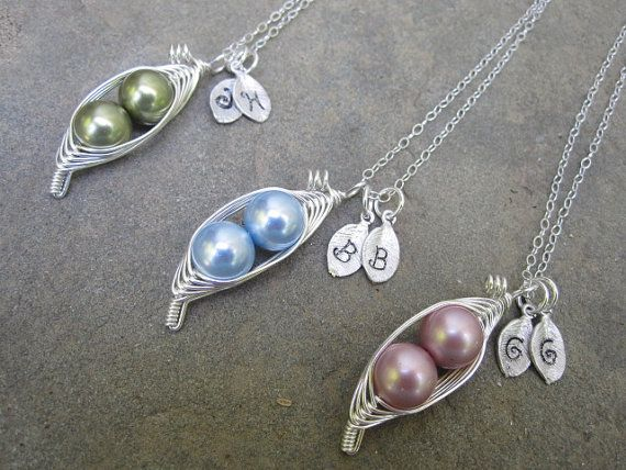 Pearl Peas in a Pod necklace-I need one of these with a red pearl and a blue pearl for my boys (hint hint) $24