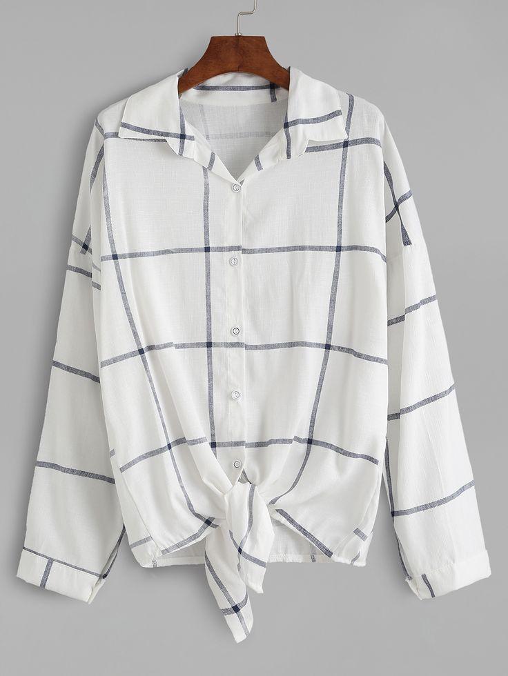 Blusa a cuadros con lazo anudado - blanco -Spanish SheIn(Sheinside) Sitio Móvil