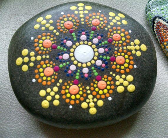 Painted Beach Rock Stone ~ By Miranda Pitrone ~ Dot Art Pointillism Mandala Garned decor