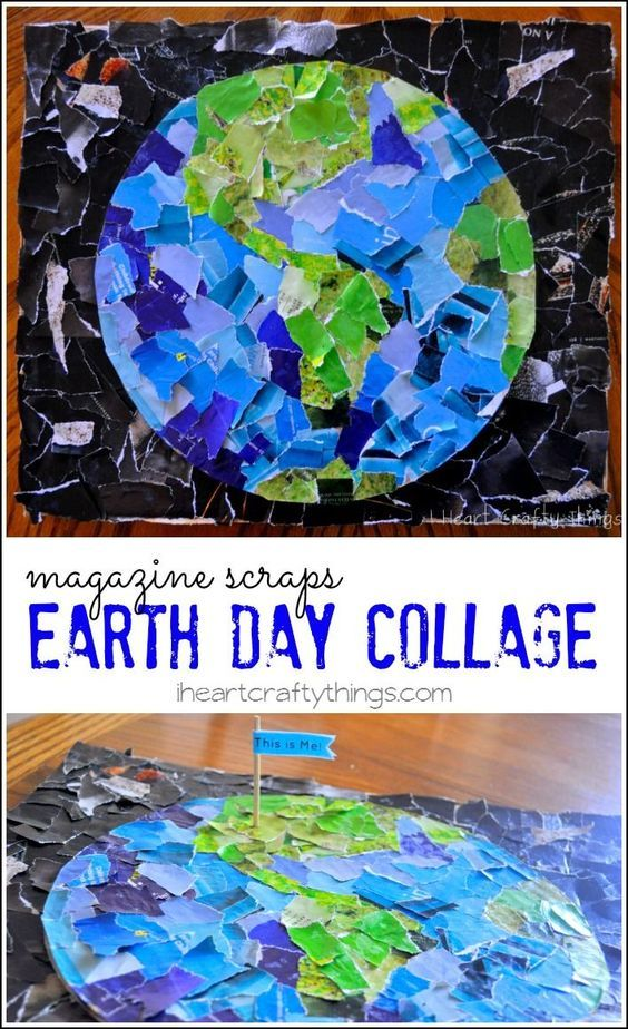 Earth Day Collage Kids Craft for Earth Day from iheartcraftythings.com, more spring teaching ideas here: https://goo.gl/jjEZYj