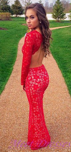 Pretty Mermaid Evening Dresses With Long Sleeveless Backless Lace Red Prom Dress Party Gowns For Teens