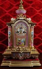 Antiguos francés Mantel Clock 19thc grande en la base con Hermosos Porcelana De Sevres