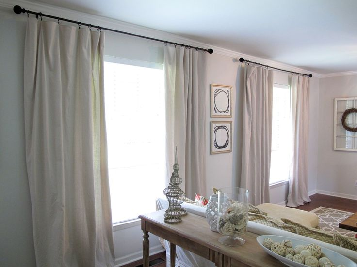 DIY curtains made from canvas drop cloths. Simple and inexpensive decorating idea on Live The Home Life.