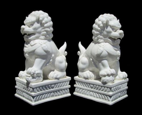 Pair-Chinese-High-Quality-White-Porcelain-Feng-Shui-Lucky-Foo-Dogs-WK2831
