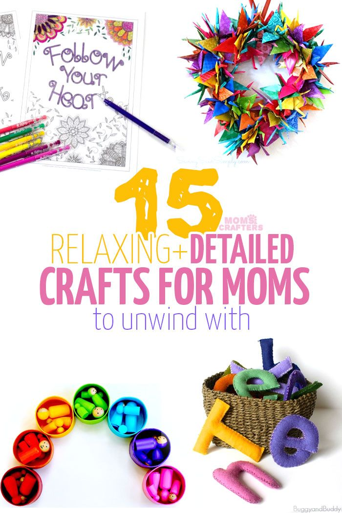 Trying to get a little Mommy-time in your day? Check out these 15 adorable relaxing crafts for adults. These DIY projects and craft ideas (including free adult coloring pages, wreath ideas, DIY toys, and more) are repetitive, detailed, and will really help you unwind.