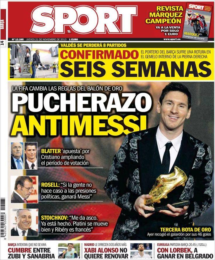 Los Titulares y Portadas de Noticias Destacadas Españolas del 21 de Noviembre de 2013 del Diario Sport ¿Que le pareció esta Portada de este Diario Español?