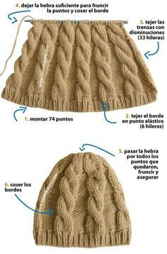 "Gorro - Beanie Dos agujas <a class=""pintag"" href=""/explore/DIY/"" title=""#DIY explore Pinterest"">#DIY</a> VIDEO"