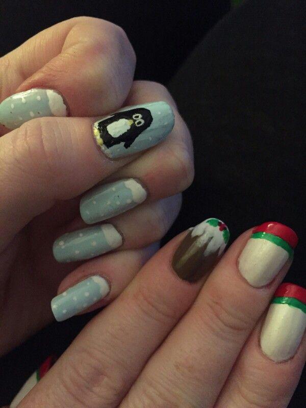 Christmas nail art fun #nailie #nailart