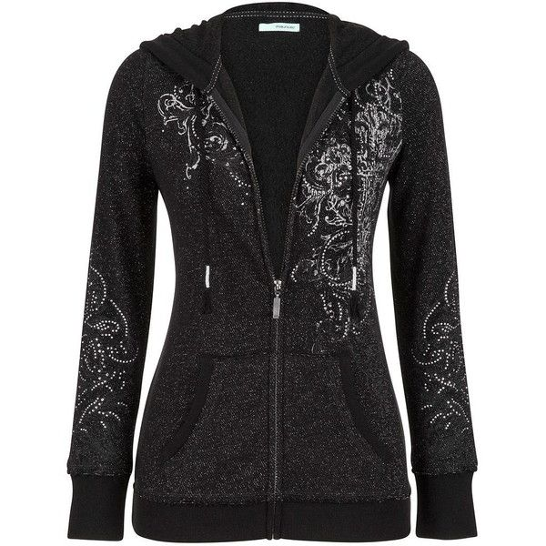 maurices Graphic Zip Up Hoodie With Rhinestone Embellishments ($44) ❤ liked on Polyvore featuring tops, hoodies, jackets, black, women plus size tops, plus size hooded sweatshirts, graphic hoodies, cotton hoodie and zip up hoodie