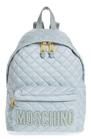 93dc372943b MOSCHINO STUDDED LOGO QUILTED NYLON BACKPACK - BLUE. #moschino #bags #nylon  #backpacks #