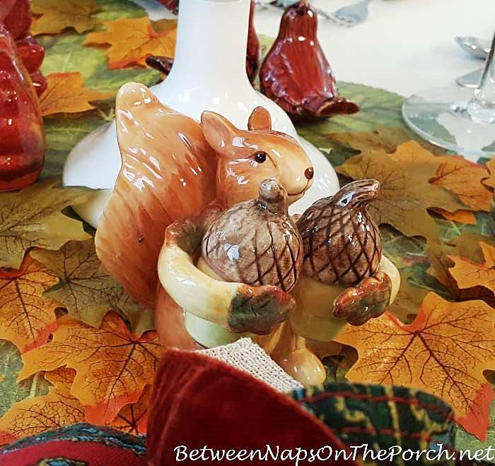 An Autumn Table with Woodland Friends~love this little guy...Cracker Barrel gift shop??