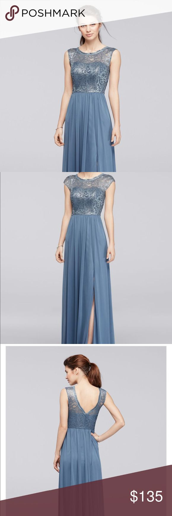 Davids Bridal Bridesmaid Dress F19328M Worn once and dry-cleaned. Never altered in anyway it's a beautiful fitting dress and the perfect steel blue metallic color with lace detailing on top. David's Bridal Dresses