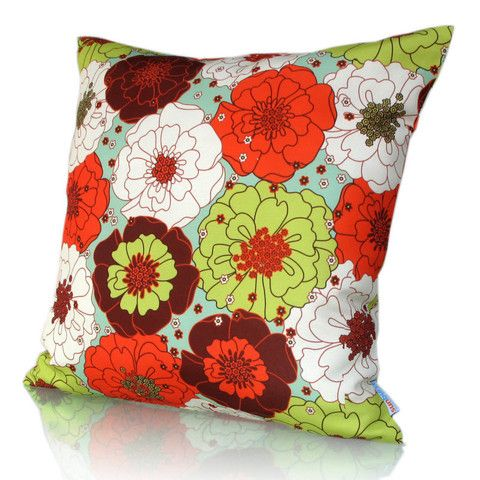 Buy mix and match green, purple and orange cushions to brighten the look of your indoor and outdoor furniture.